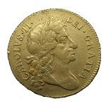 1st Charles II Gold Guinea 1677 - Dave Cobb a
